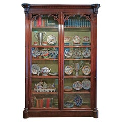 William IV Gothic Mahogany Bookcase Display Cabinet, English, circa 1830