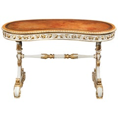 William IV Kidney Shaped Writing Table with Carved Giltwood and White Painted