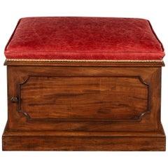 William IV Mahogany and Leather Box Stool