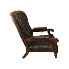 William IV Mahogany and Leather Reclining Library Chair