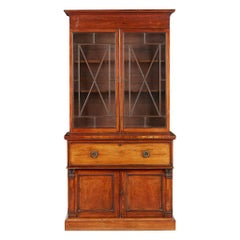 William IV Mahogany and Satinwood Secretaire Bookcase