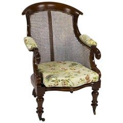 William IV Mahogany Bergère Library Chair Attributed to Gillows
