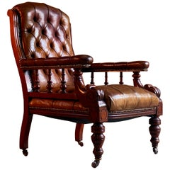 William iv Mahogany Buttoned Back Leather Library Chair 19th Century, circa 1835