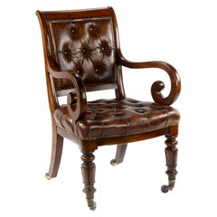 William iv Mahogany Desk or Library Chair in the Gillows Style