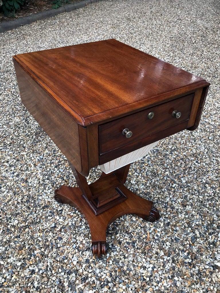 British William IV Mahogany Drop-Leaf Work Table For Sale