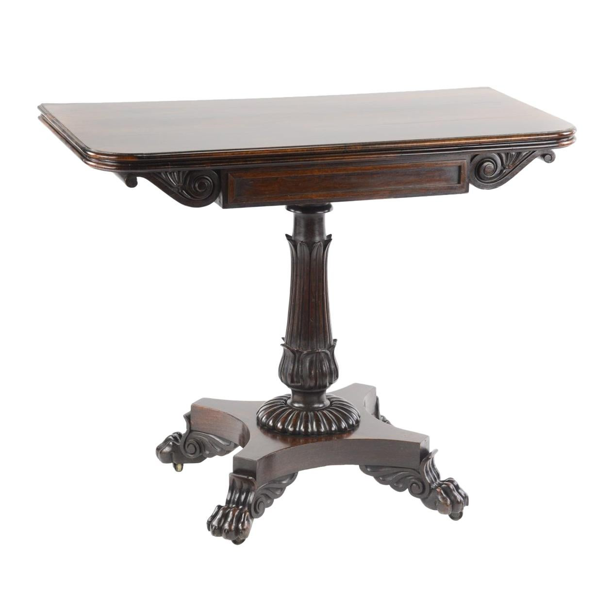 William IV Mahogany Fold Over Card Table