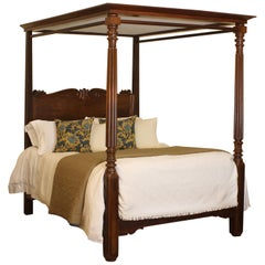William IV Mahogany Four Poster Antique Bed, W4P8