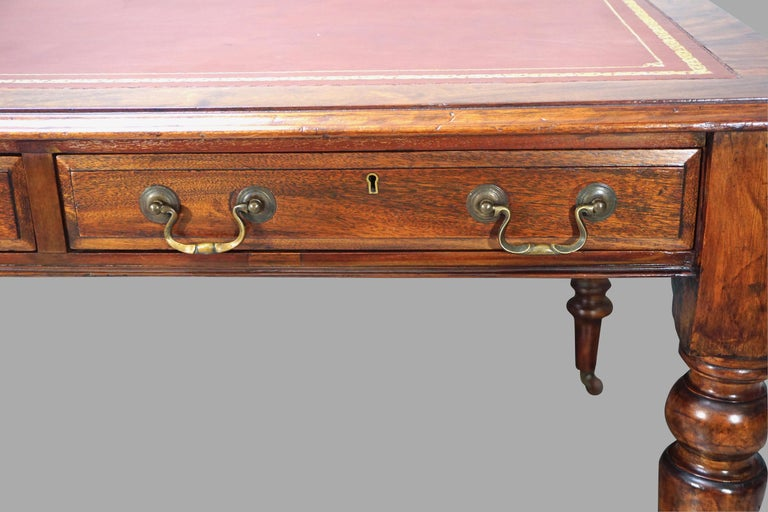 19th Century William IV Mahogany Partners Writing Table with Leather Top For Sale