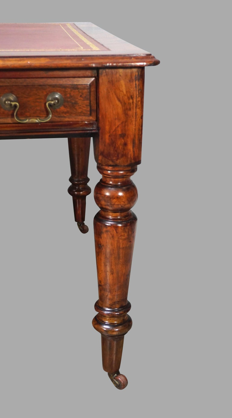 William IV Mahogany Partners Writing Table with Leather Top For Sale 1