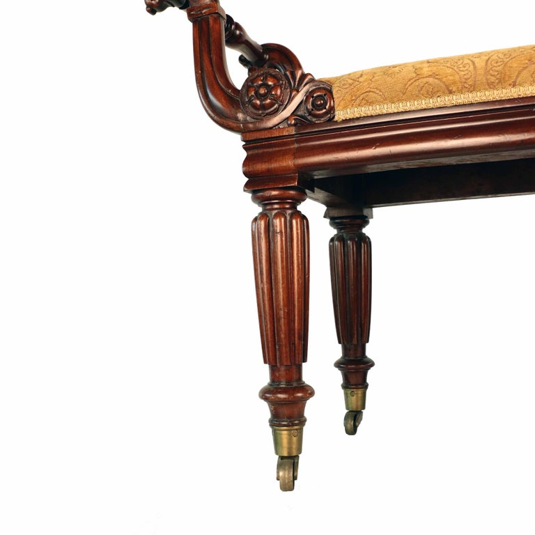 William IV Mahogany Upholstered Bench For Sale 5