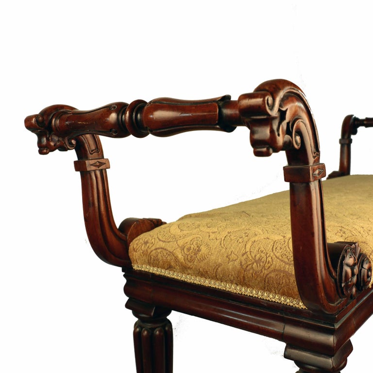 William IV Mahogany Upholstered Bench In Good Condition For Sale In Montreal, QC