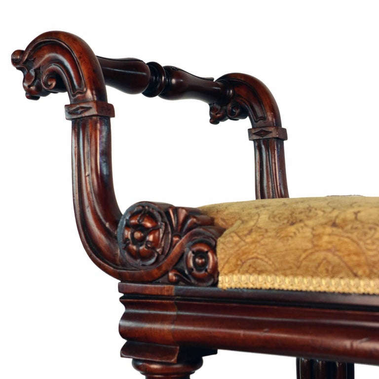 William IV Mahogany Upholstered Bench For Sale 3