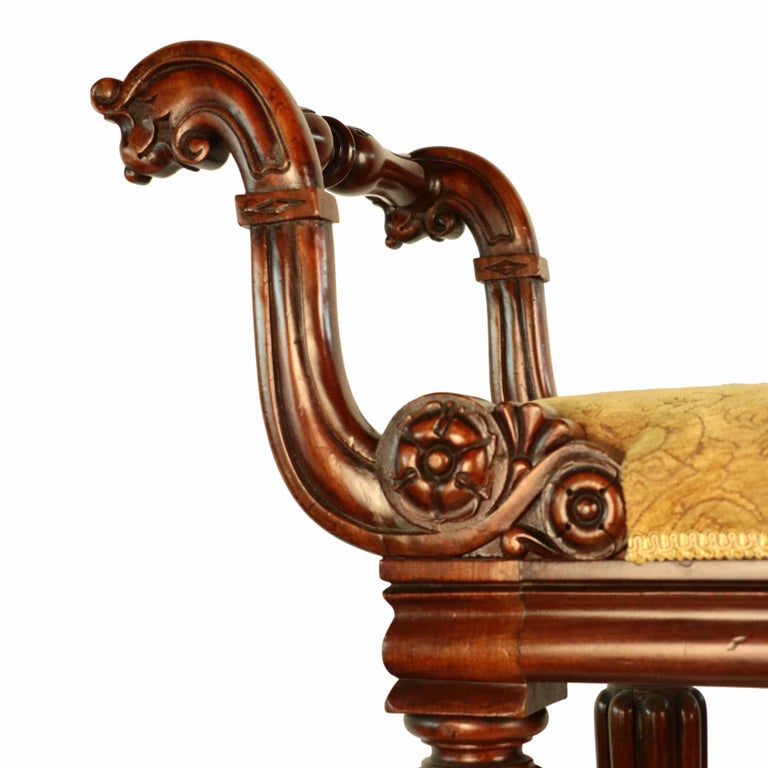 William IV Mahogany Upholstered Bench For Sale 4