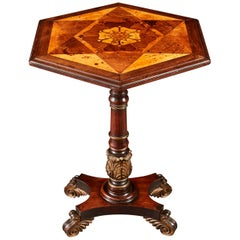 William IV Parquetry Occasional Table with Hexagonal Top Inlaid with Tudor Rose