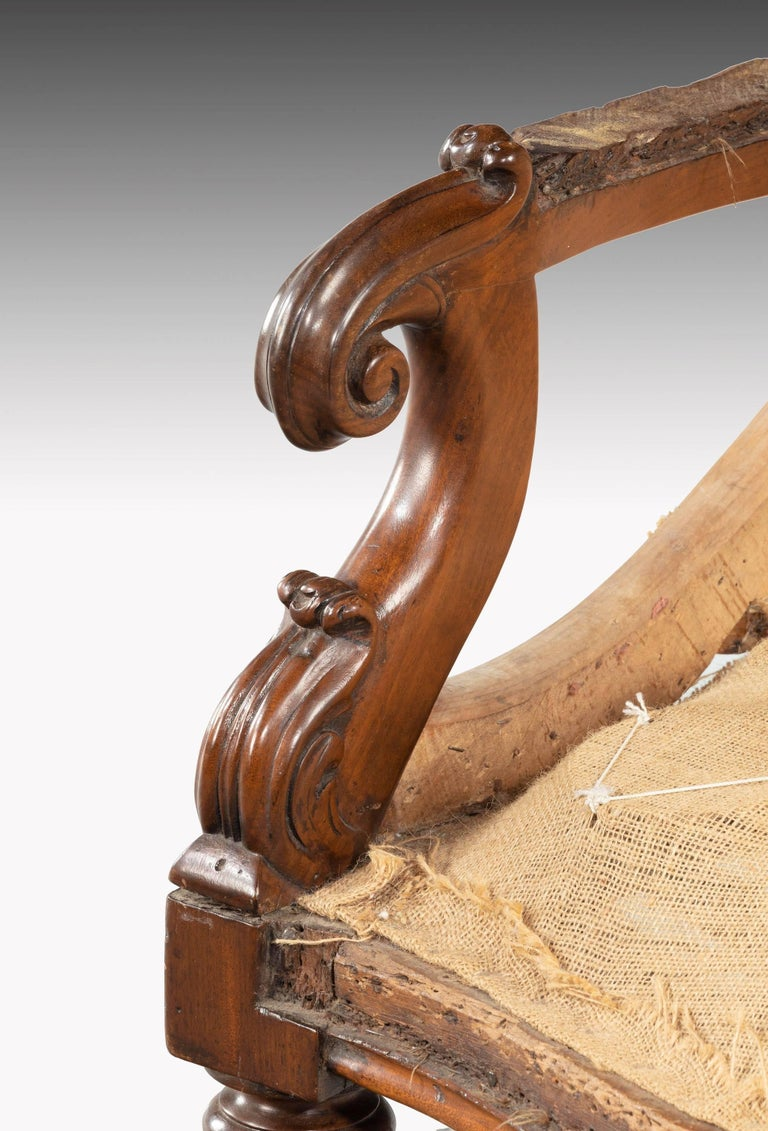 Wood William IV Period Library Chair For Sale