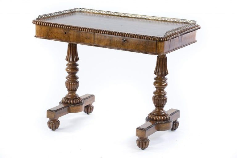British William IV Rosewood Library or Writing Table Firmly Attributed to Gillows For Sale