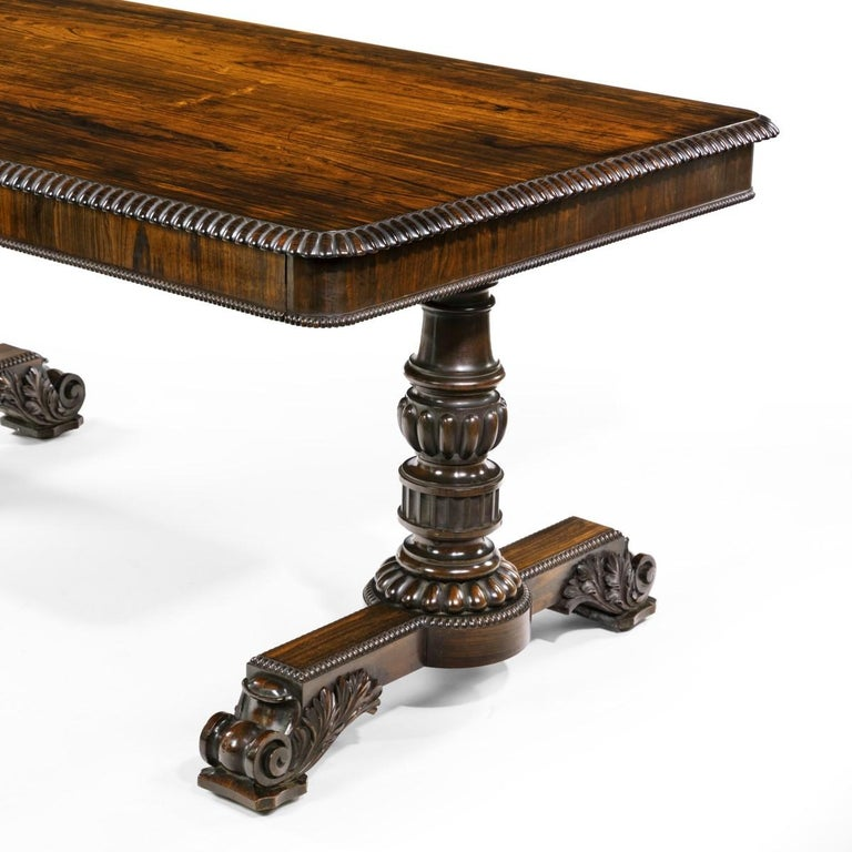 English William iv Rosewood Partners' Library Table by Gillows For Sale