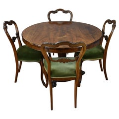 William IV Rosewood Round Dining/Breakfast Table and Four Chairs
