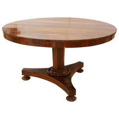 William IV Round Rosewood Three Footed Pedestal Center Table or Dining Table
