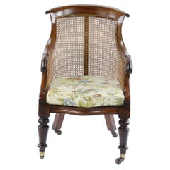 William IV Walnut Framed Bergere Library Chair