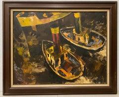 """Jack Laycox Mid Century """"Tug Boats"""" Oil Painting c.1960"""