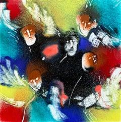 "William Jacobs ""Untitled 2 (Faces)"", original enamel on metal tile"