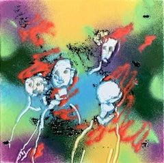 "William Jacobs ""Untitled 3 (Faces)"", original enamel on metal tile"