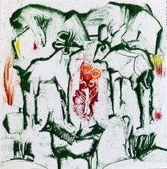 "William Jacobs ""Untitled 4"", original enamel on metal tile"