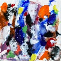"William Jacobs ""Untitled 7"" (Faces), original enamel on metal tile"