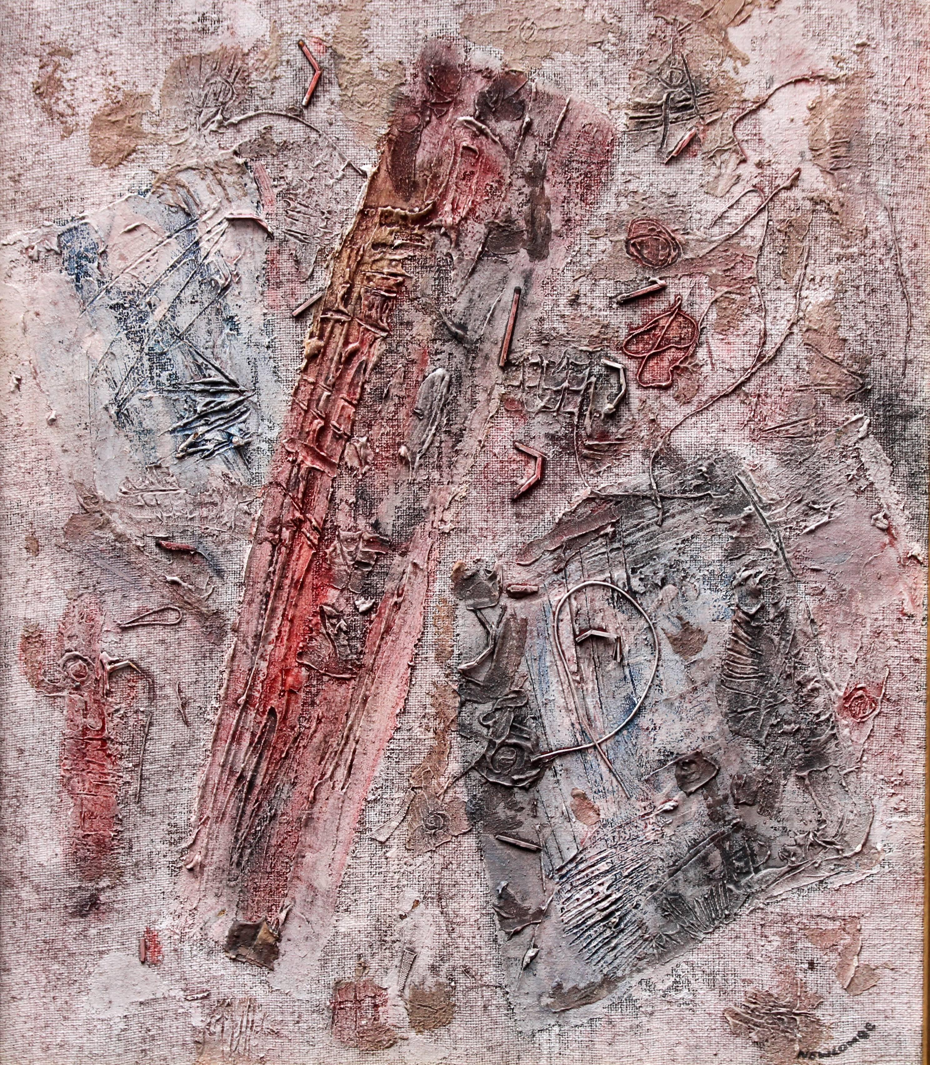 New Vision - Canadian Abstract Expressionist art 60s oil painting landscape pink