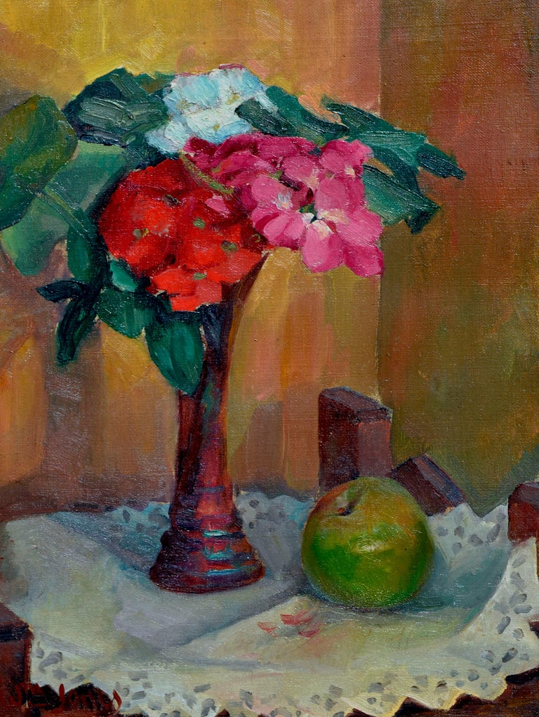 Floral Still Life with Apple - Painting by William John Jones