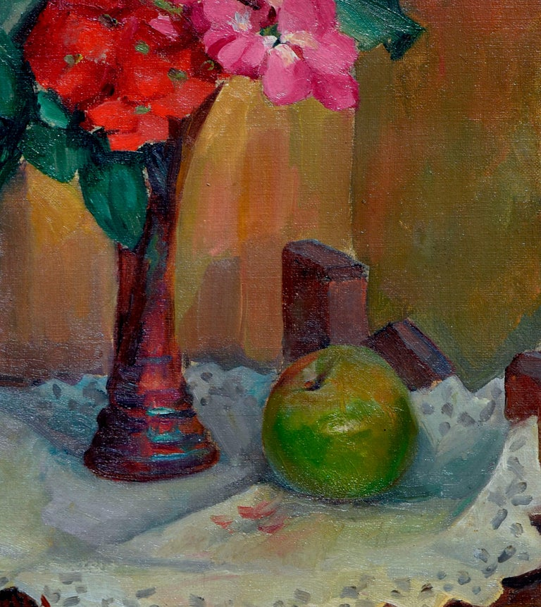 Floral Still Life with Apple - Brown Interior Painting by William John Jones