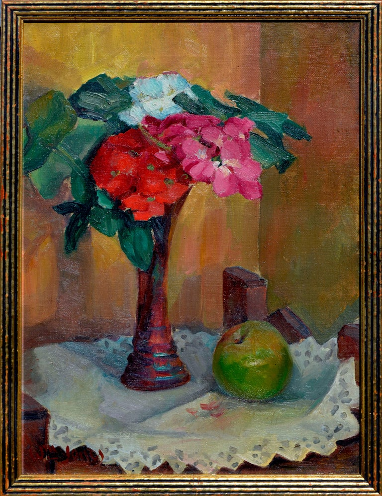 William John Jones Interior Painting - Floral Still Life with Apple