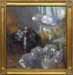 Antique American Impressionist Flower Still Life Signed Original Oil Painting