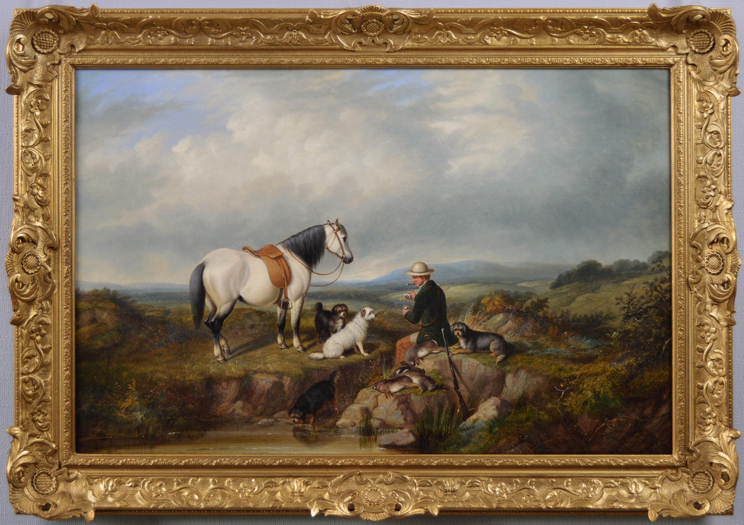 19th Century sporting landscape oil painting with horse, dogs & game