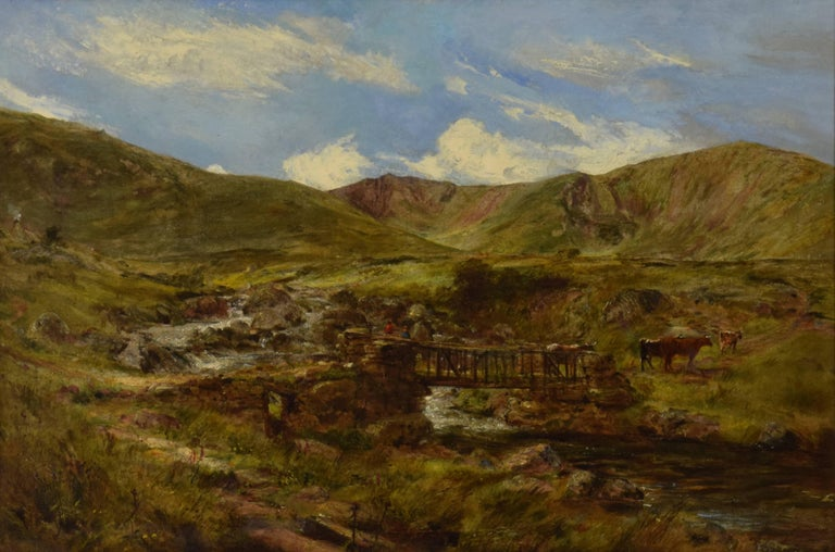 Welsh Landscape with Figures and Cattle Crossing Bridge by William J. C. Bond - Painting by William Joseph J. C. Bond