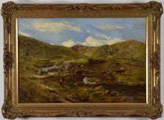 Welsh Landscape with Figures and Cattle Crossing Bridge by William J. C. Bond