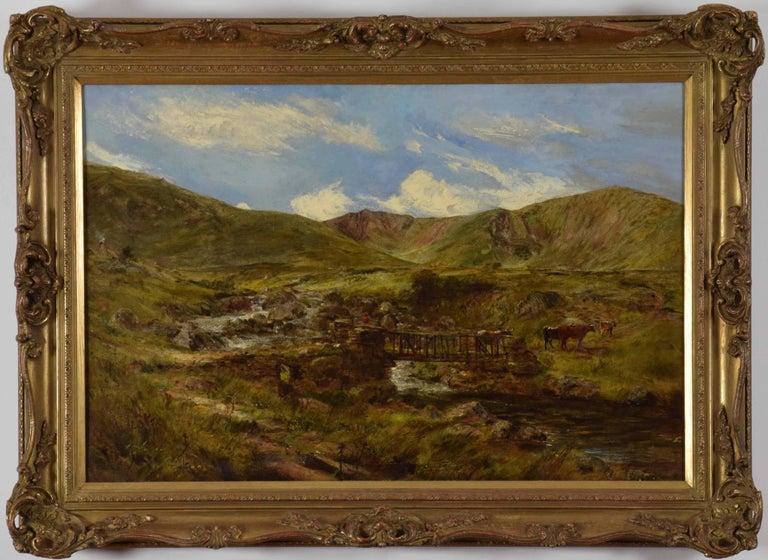 William Joseph J. C. Bond Landscape Painting - Welsh Landscape with Figures and Cattle Crossing Bridge by William J. C. Bond