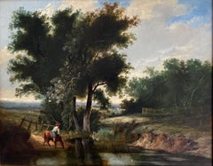 Circle of William Joseph Shayer, mid 19th Century, Horse and rider watering