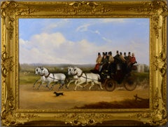 19th Century oil painting of the London to Brighton Coach