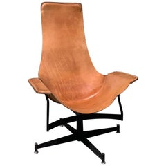 William Katavolos for Leathercraft Swivel Sling Lounge Chair