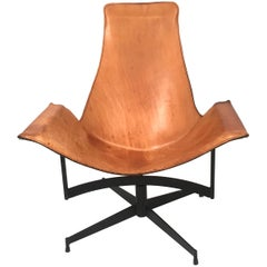 William Katavolos Leather and Iron Sling Swivel Chair