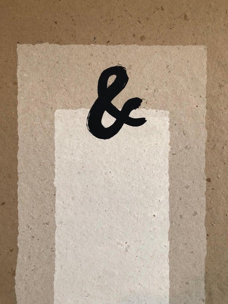 Ampersand (&) Abstract Geometric Silkscreen on Handmade Kenzo Paper - Print by William Katz