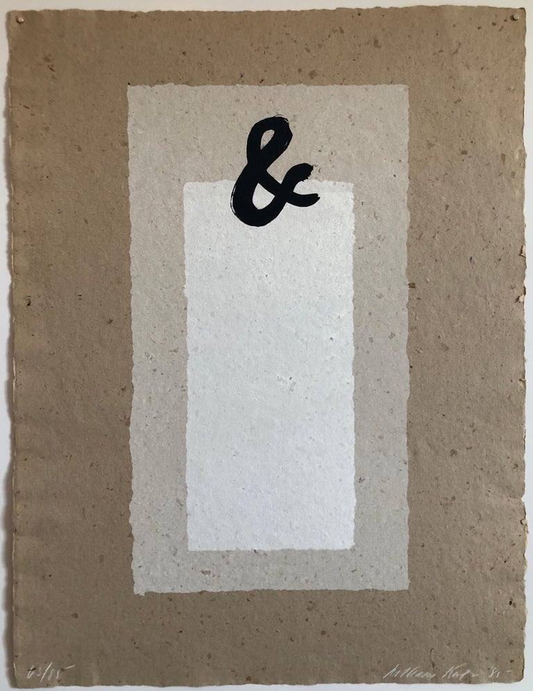 Ampersand (&) Abstract Geometric Silkscreen on Handmade Kenzo Paper - Gray Abstract Print by William Katz