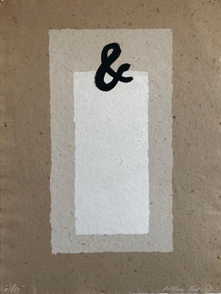 William Katz Abstract Print - Ampersand (&) Abstract Geometric Silkscreen on Handmade Kenzo Paper