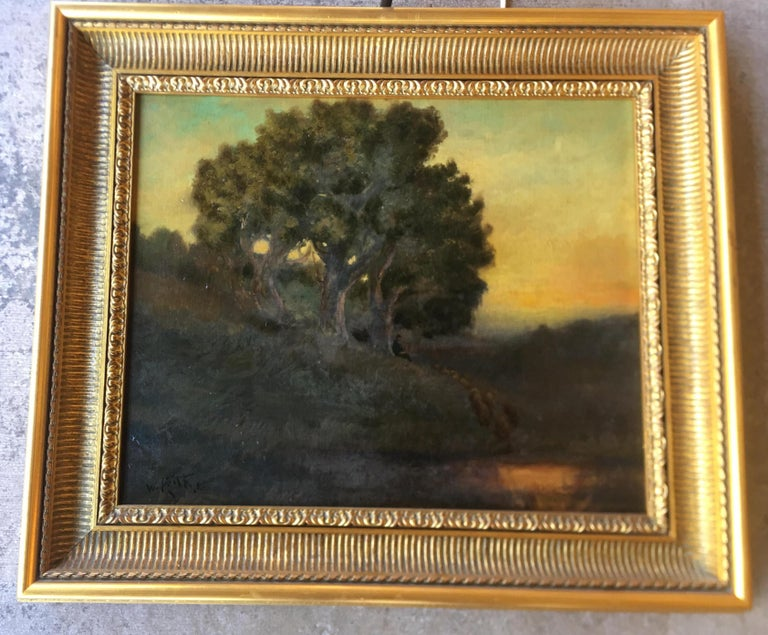 Original oil painting on board, Tonal-style landscape painting by listed, deceased, famous artist, William Keith (1838-1911). Painting features a group of majestic trees near a pond of water at deep dusk or early dawn. A lone shepherd, seated