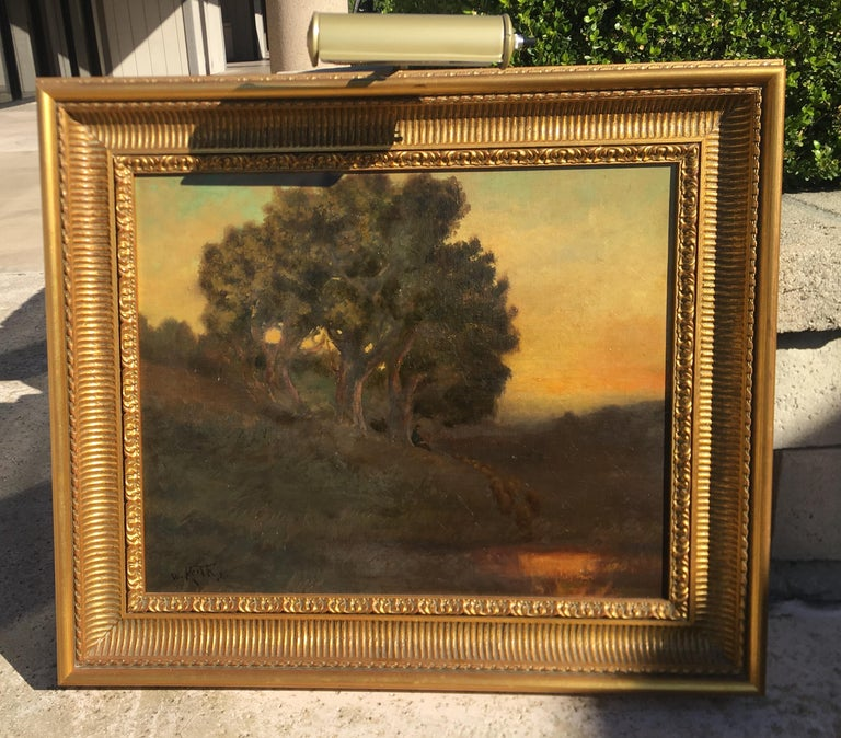 American William Keith Original Tonal Oil Painting of California Misty Woodland Landscape For Sale