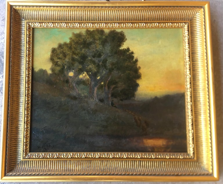 Hand-Painted William Keith Original Tonal Oil Painting of California Misty Woodland Landscape For Sale