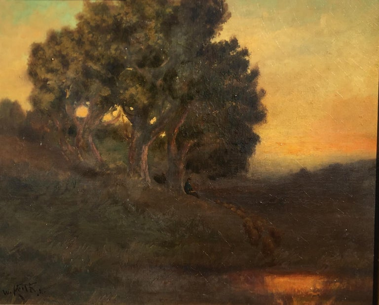William Keith Original Tonal Oil Painting of California Misty Woodland Landscape In Good Condition For Sale In Tustin, CA