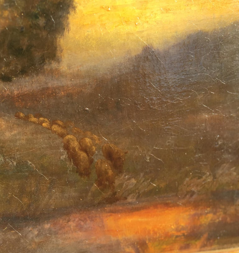 19th Century William Keith Original Tonal Oil Painting of California Misty Woodland Landscape For Sale
